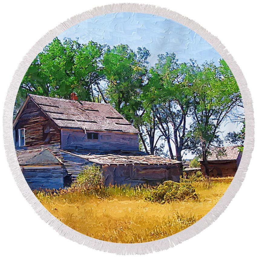 Barber Montana Round Beach Towel featuring the photograph Barber Homestead by Susan Kinney