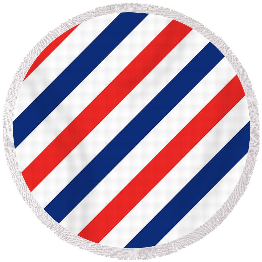 Barber Shop Pole Round Beach Towel featuring the digital art Barber Stripes by Julia Jasiczak