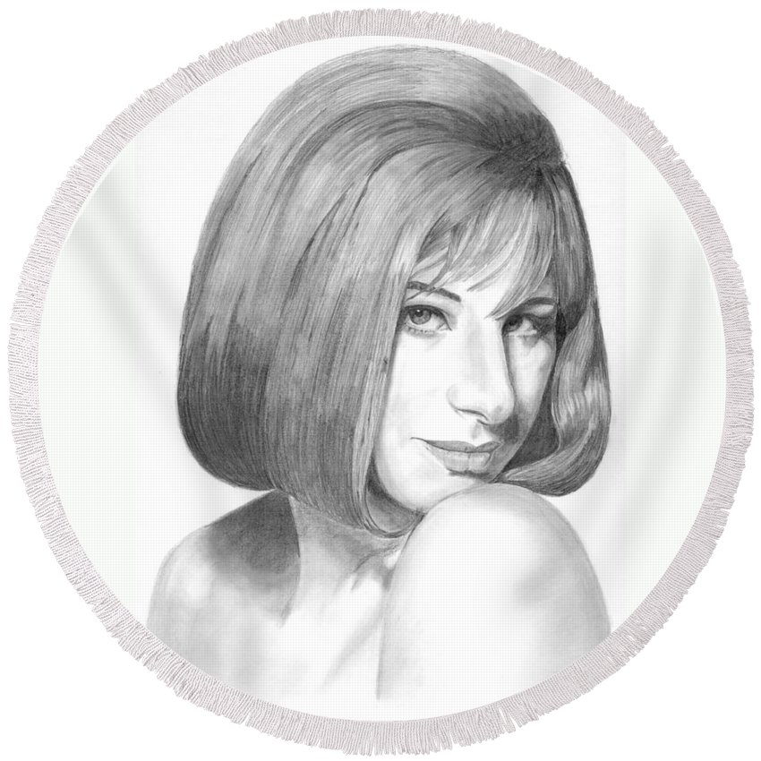 Singer Round Beach Towel featuring the drawing Barbra Streisand by Rob De Vries