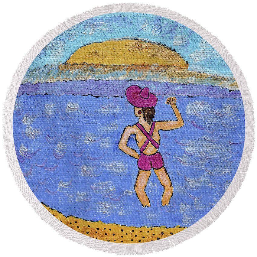 Barb Round Beach Towel featuring the painting Barb's Beach Waving by Robyn Louisell