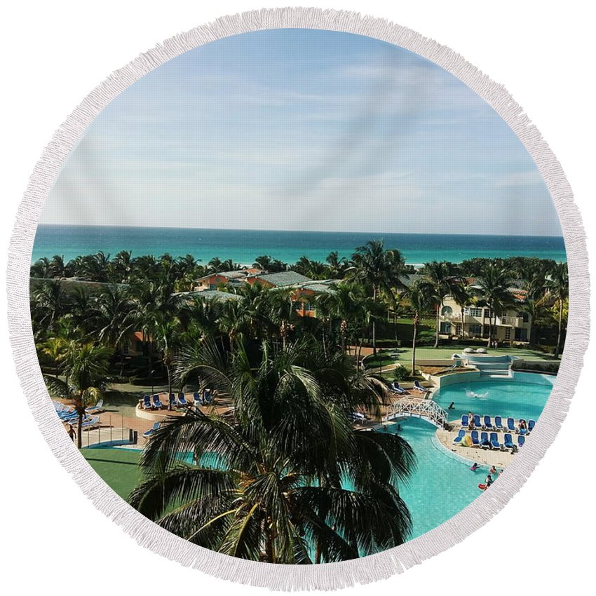 Hotel Round Beach Towel featuring the photograph Barcelo Solymar Arenas Blancas by Eloviano Maya
