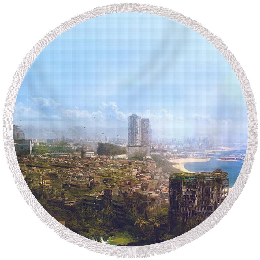 Sciencie Fiction Round Beach Towel featuring the painting Barcelona Aftermath La Barceloneta by Guillem H Pongiluppi