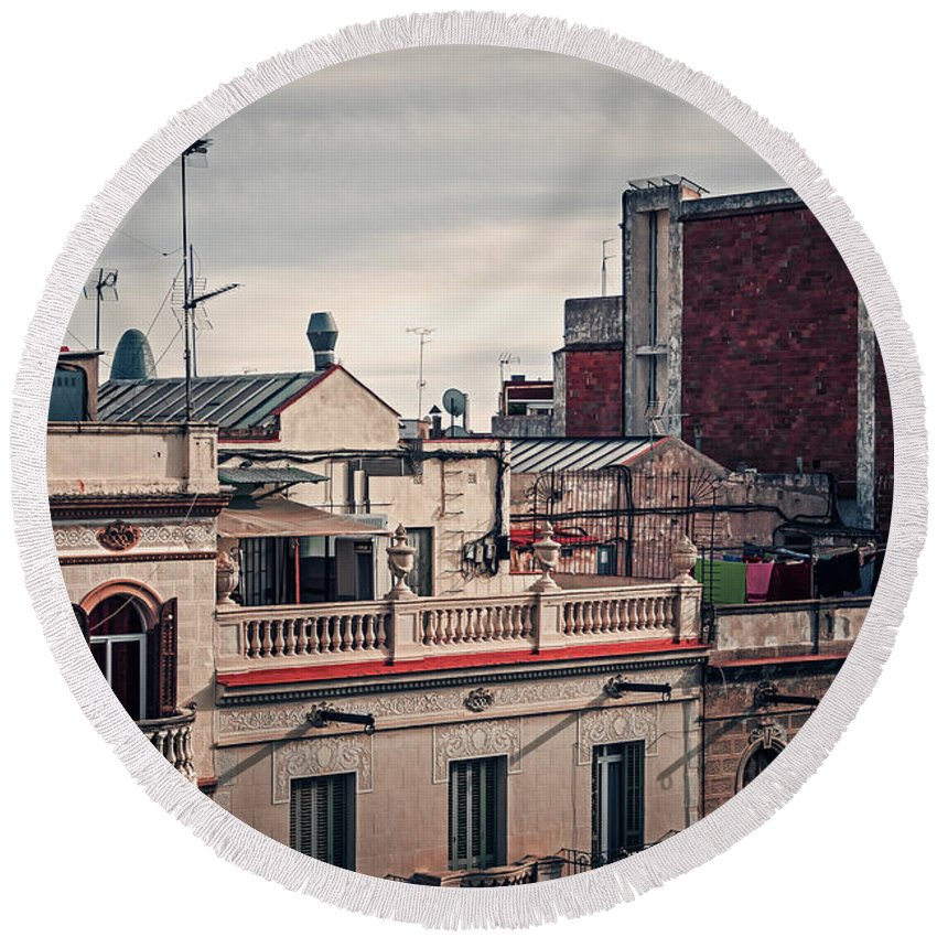 Barcelona Round Beach Towel featuring the photograph Barcelona Roofscape by Alexander Voss