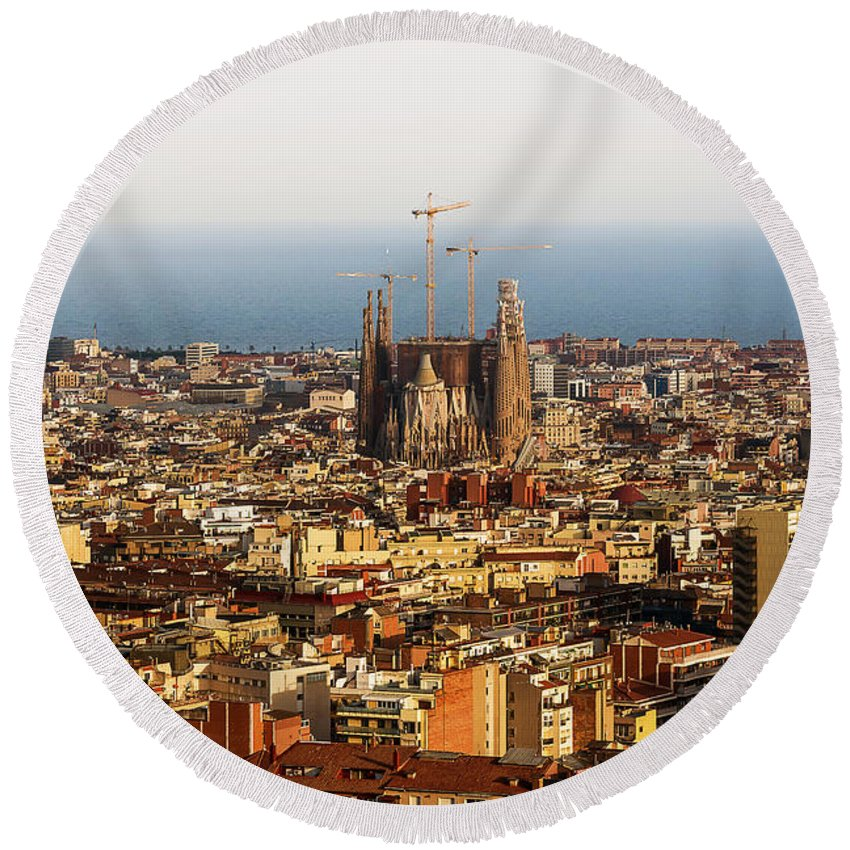 Active Round Beach Towel featuring the photograph Barcelona by Svetlana Sewell