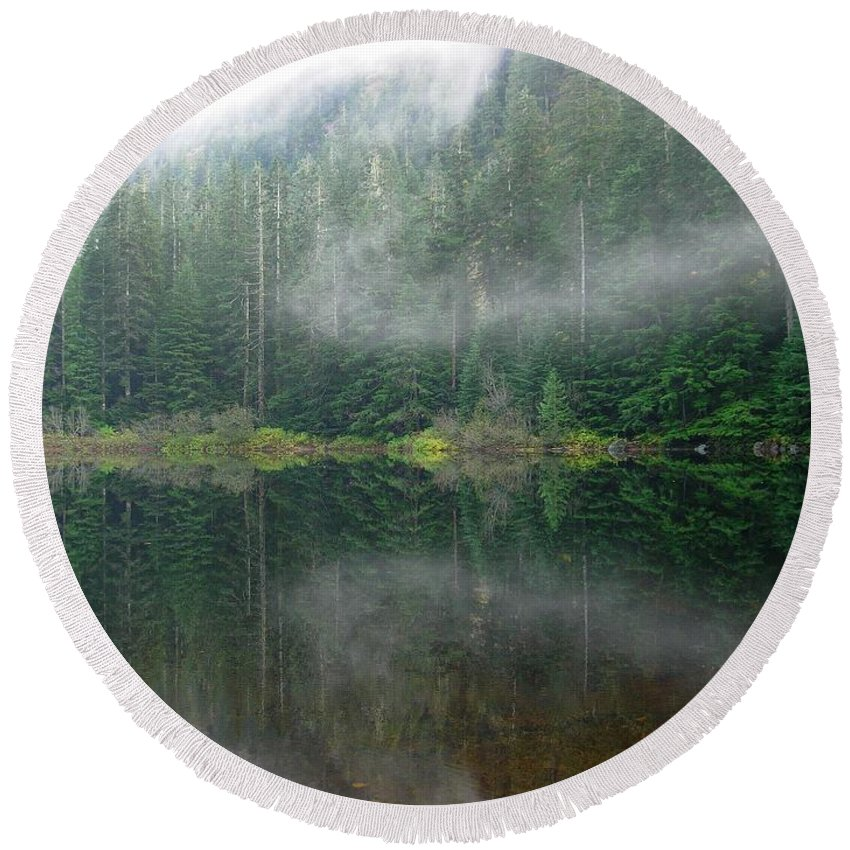 Lake Round Beach Towel featuring the photograph Barclay Lake, Reflected by Maxwell Krem