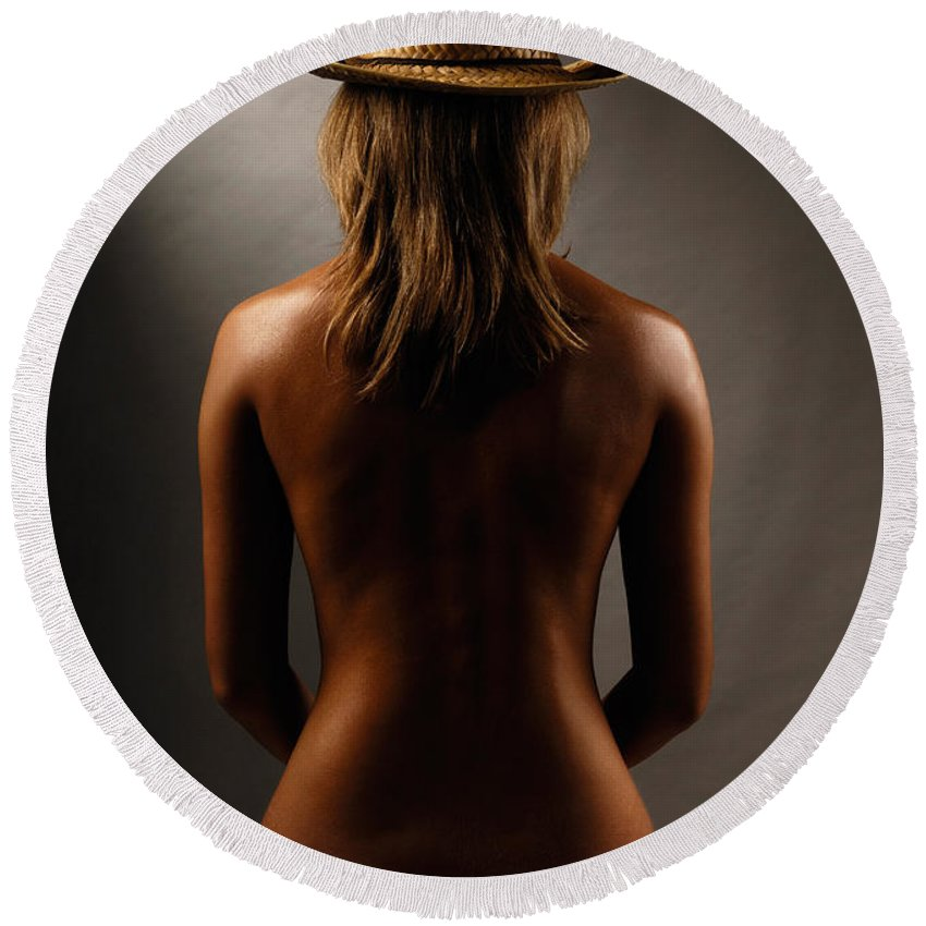 Woman Round Beach Towel featuring the photograph Bare Back Of A Woman In A Straw Hat by Maxim Images Prints
