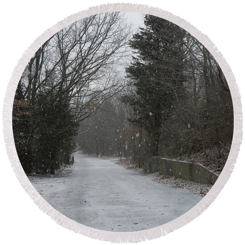 Bare Round Beach Towel featuring the photograph Bare Cove Park In A Snowstorm by Adam Gladstone