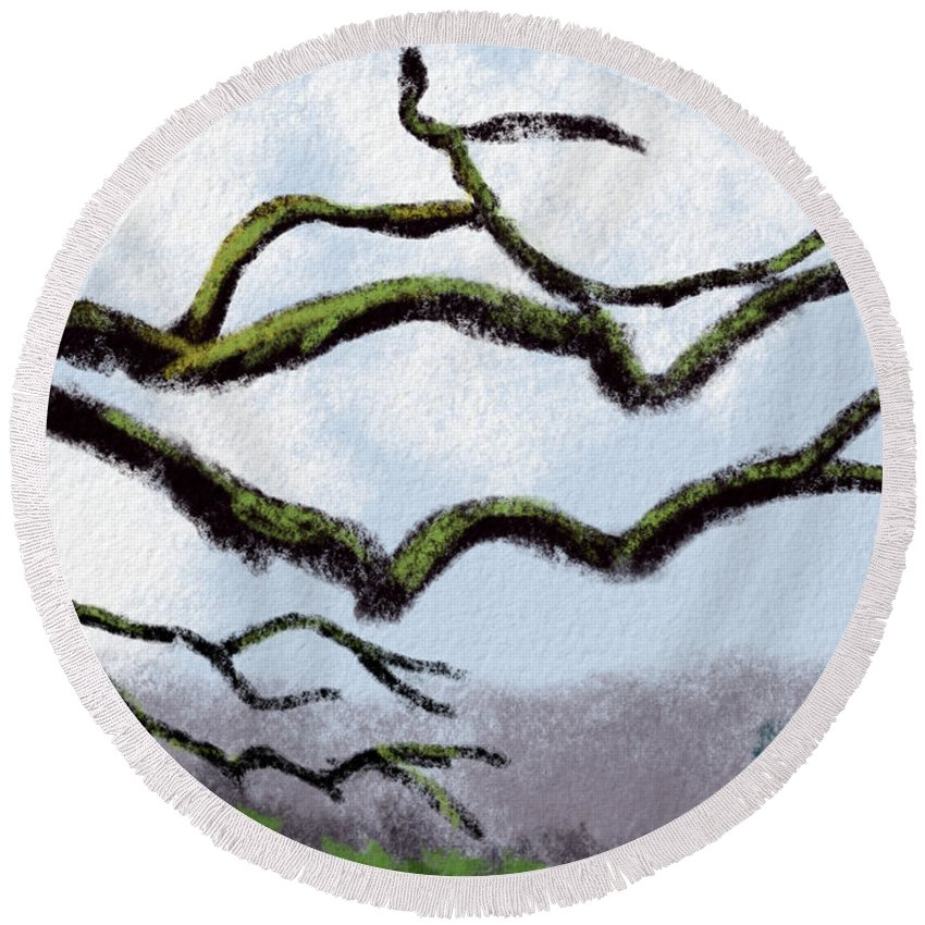 Tree Round Beach Towel featuring the digital art Bare Tree Branches by Michael Kallstrom