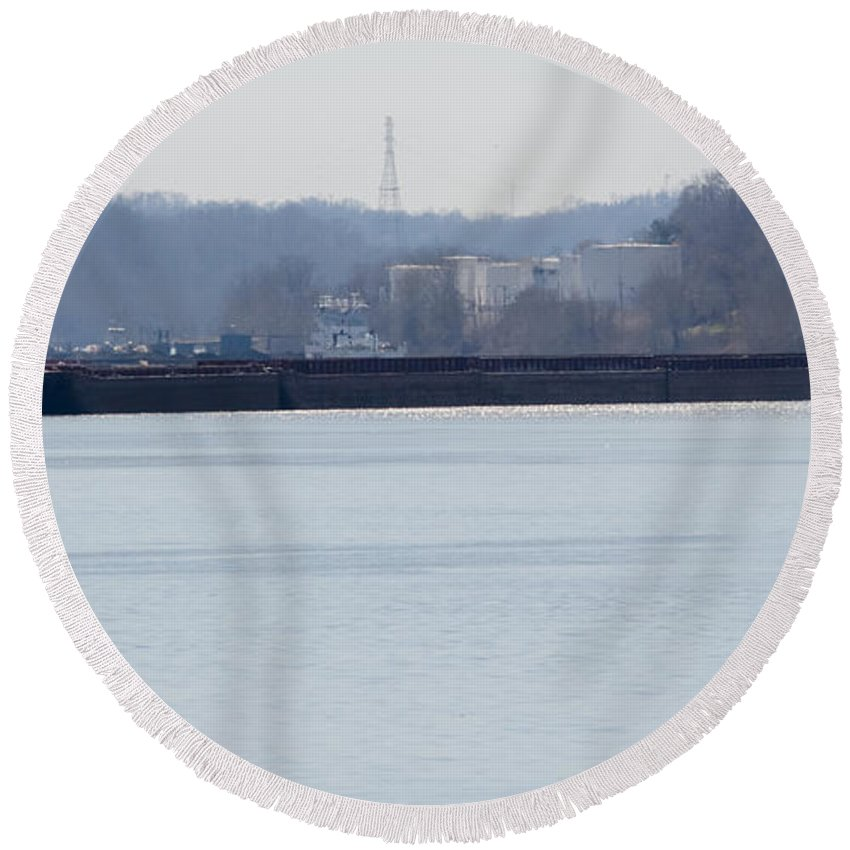 Jan Round Beach Towel featuring the photograph Barge In The Bank by Jan M Holden