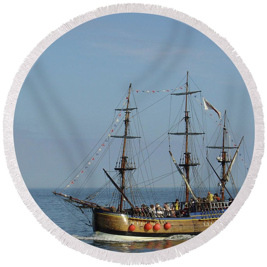 Europe Round Beach Towel featuring the photograph Bark Endeavour - Whitby by Rod Johnson