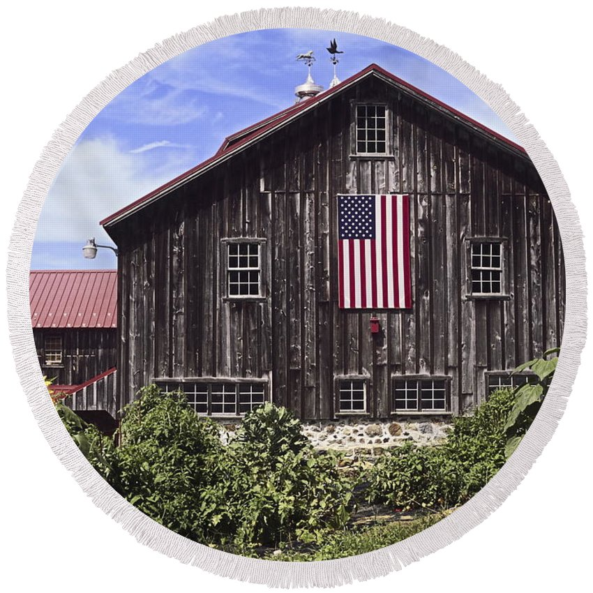 Large Brown Barn Round Beach Towel featuring the photograph Barn And American Flag by Sally Weigand