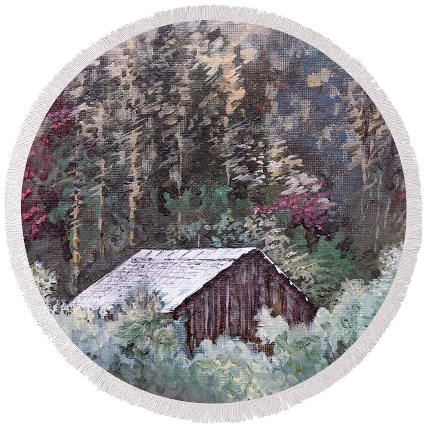 Landscape Round Beach Towel featuring the painting Barn At Cades Cove by Todd Blanchard