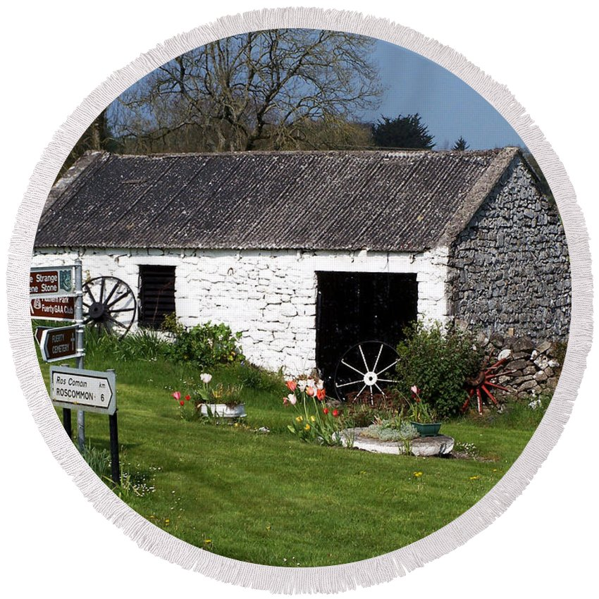 Ireland Round Beach Towel featuring the photograph Barn At Fuerty Church Roscommon Ireland by Teresa Mucha
