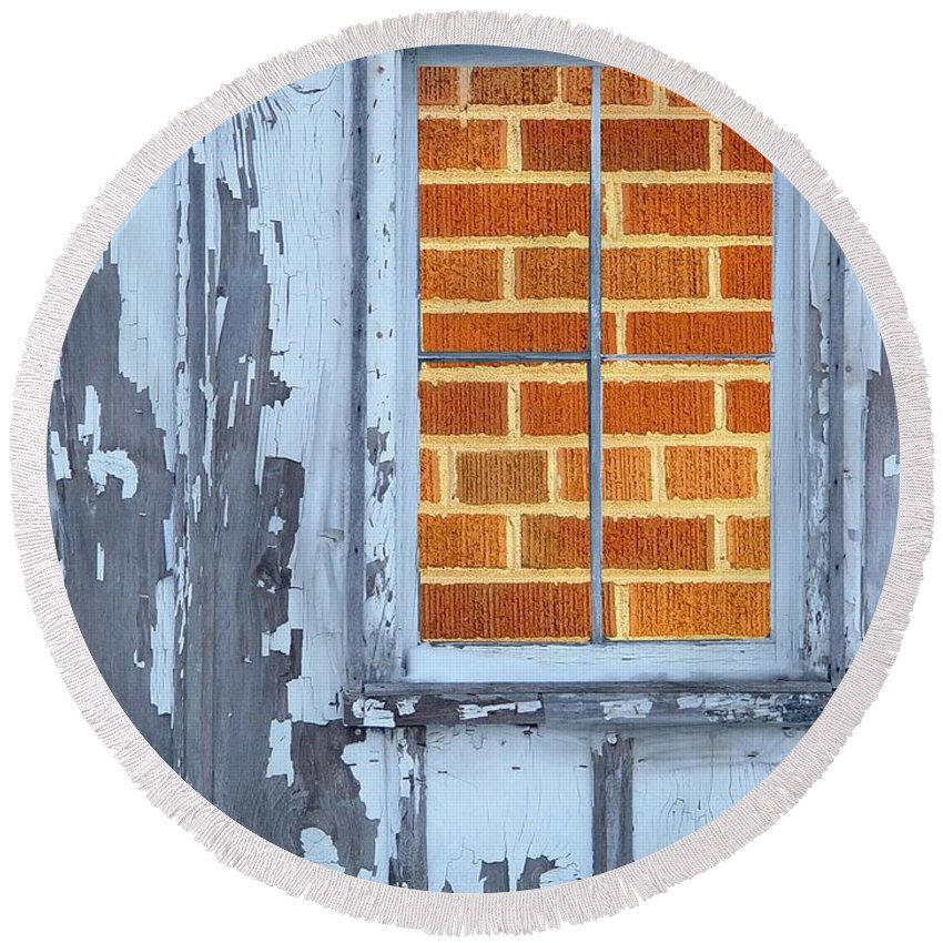 Barn Round Beach Towel featuring the photograph Barn Brick Window by Tim Allen