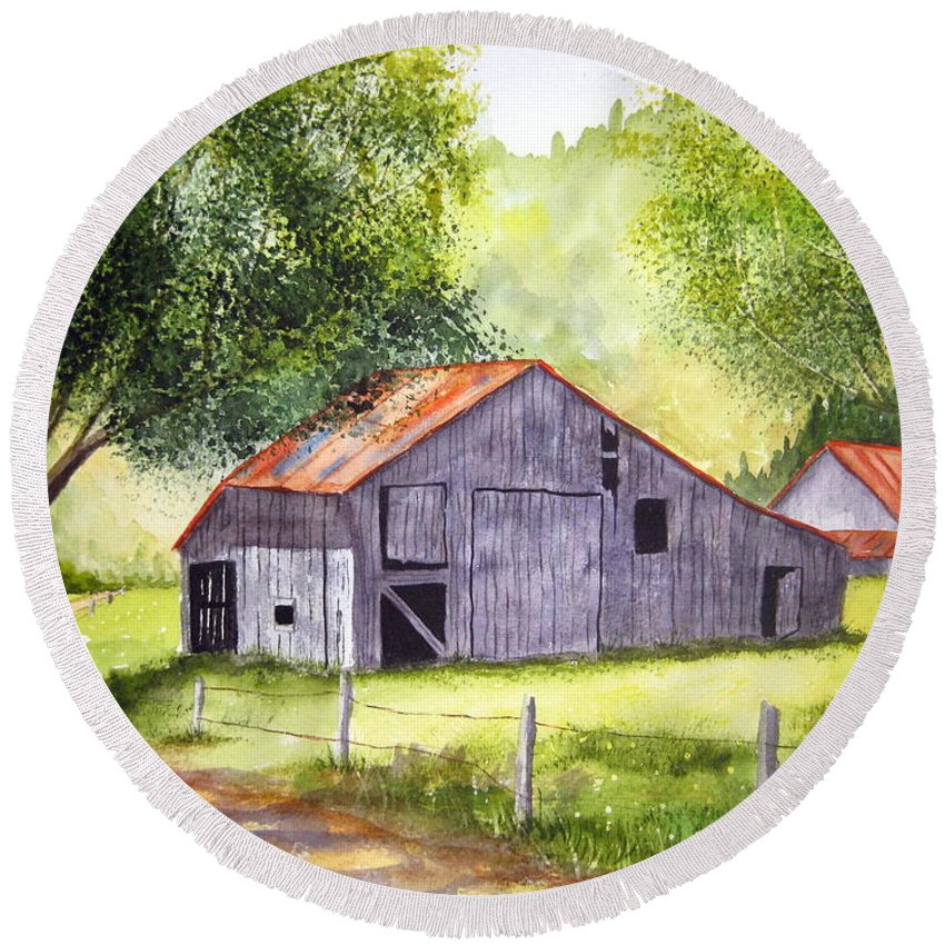 Nc Round Beach Towel featuring the painting Barn By The Road by Julia RIETZ