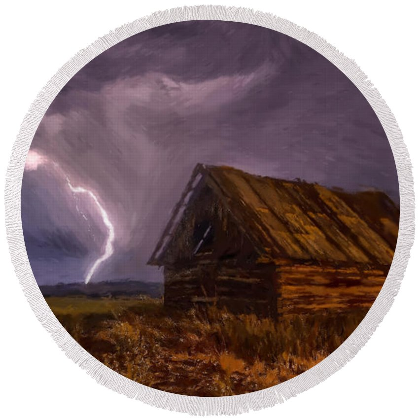 Barn Round Beach Towel featuring the painting Barn - Id 16235-142810-2236 by S Lurk