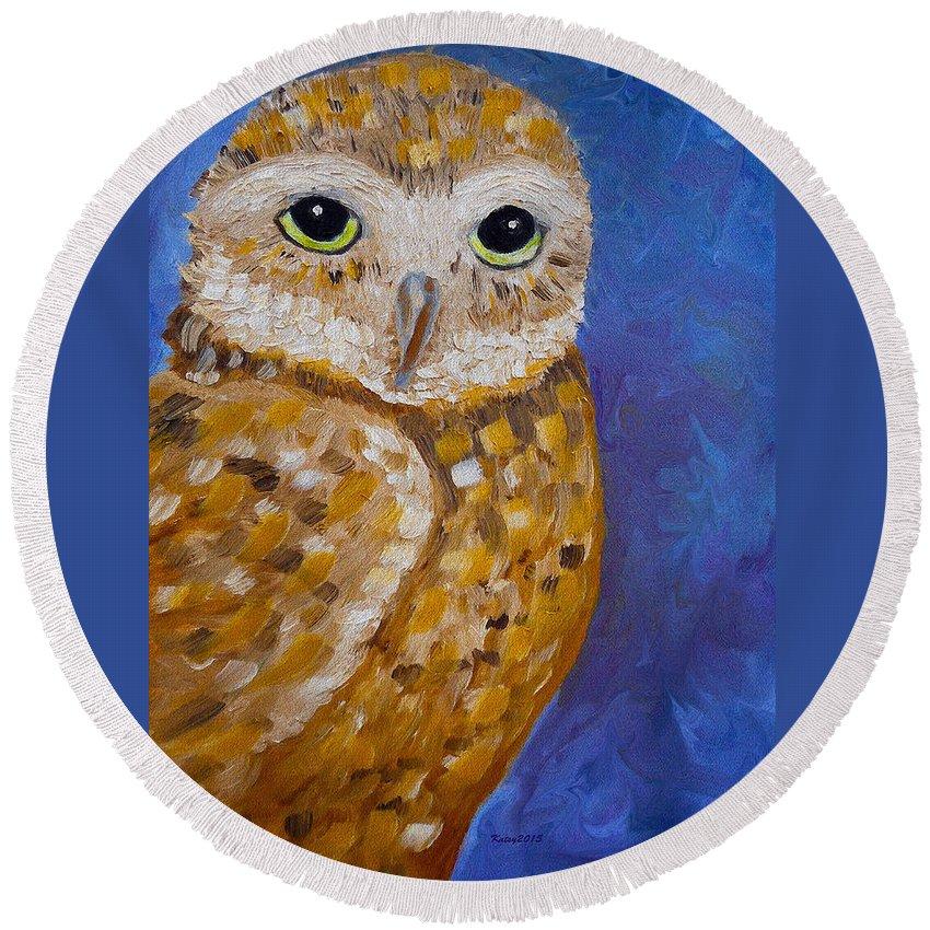 Barn Owl | Owl Painting | Oil Painting | Impressionism | Owl Art | Abstract Art | Night Owl | Contemporary Art | Colorado Artist | Wildlife | Bird Art | Kathy Symonds | Artbykatsy Round Beach Towel featuring the painting Barn Owl- Impressionism- Owl By Night by Kathy Symonds