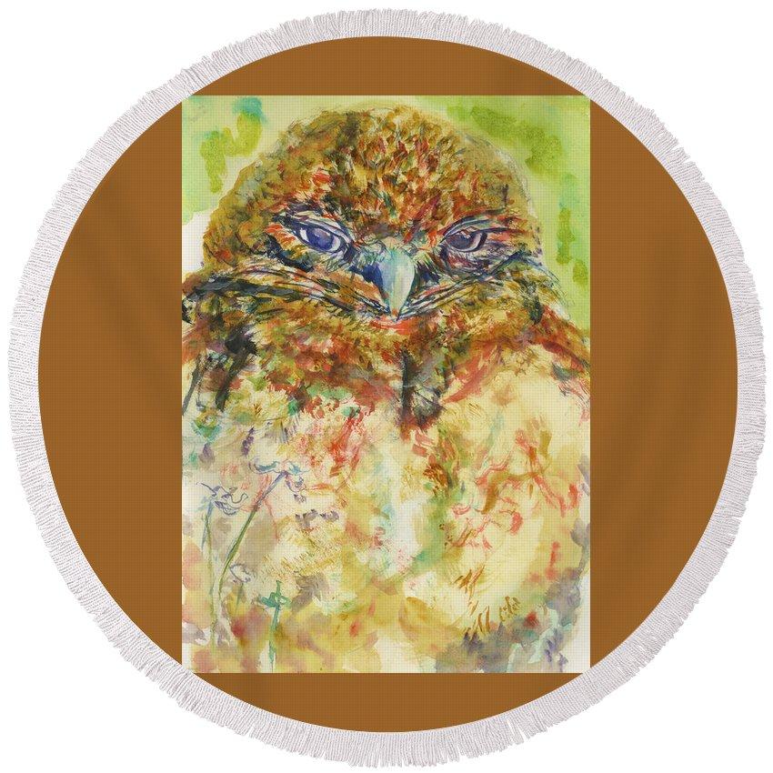 Barn Owl Round Beach Towel featuring the painting Barn Owl Thinking by Elizabeth Way