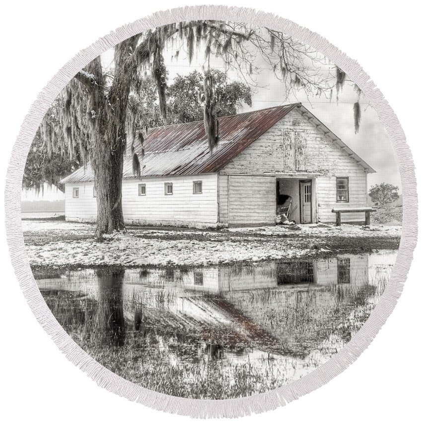 Landscape Round Beach Towel featuring the photograph Barn Reflection by Scott Hansen