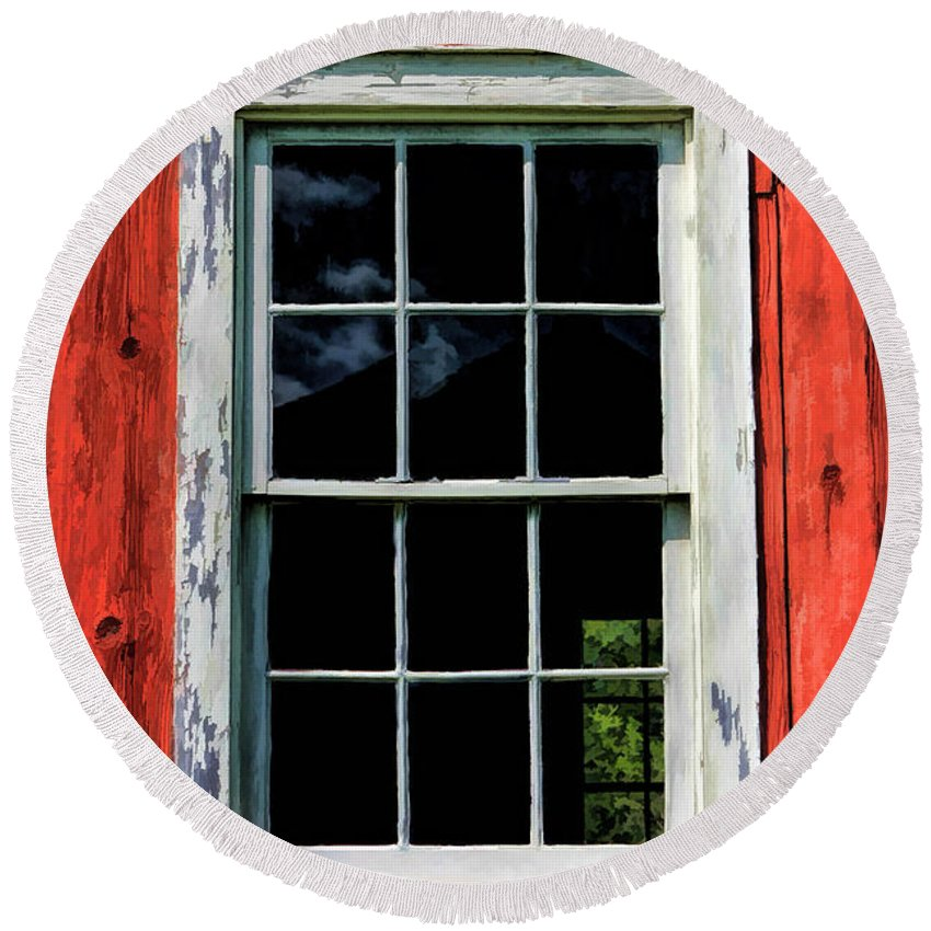 Old World Wisconsin Round Beach Towel featuring the painting Barn Window Closeup At Old World Wisconsin by Christopher Arndt