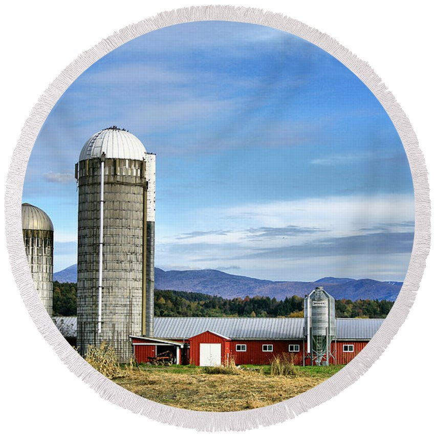 Rural Round Beach Towel featuring the Barn With A View by Deborah Benoit