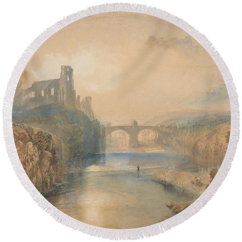 Barnard Castle Round Beach Towel featuring the painting Barnard Castle by Grypons Art