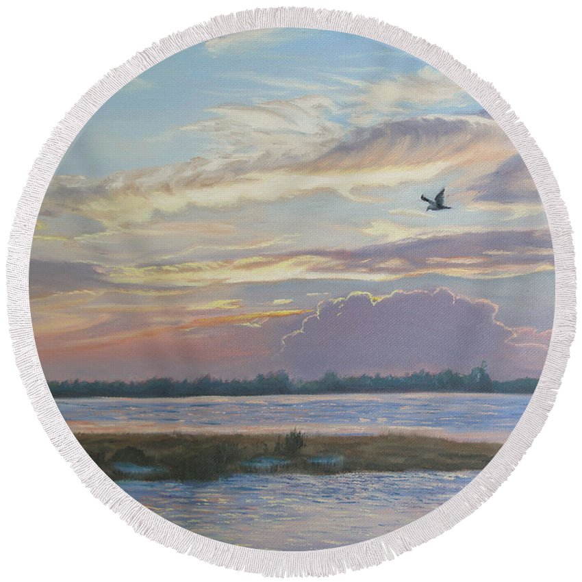 Sunset Painting Round Beach Towel featuring the painting Barnegat Bay At Sunset by Lea Novak