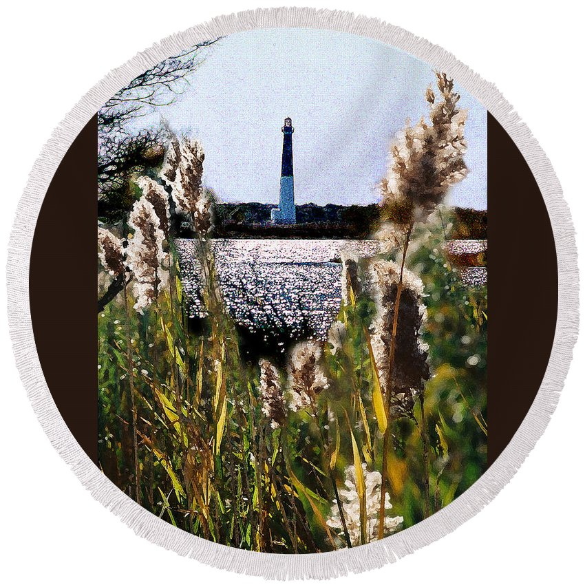 Barnegat Round Beach Towel featuring the digital art Barnegat Bay by Steve Karol