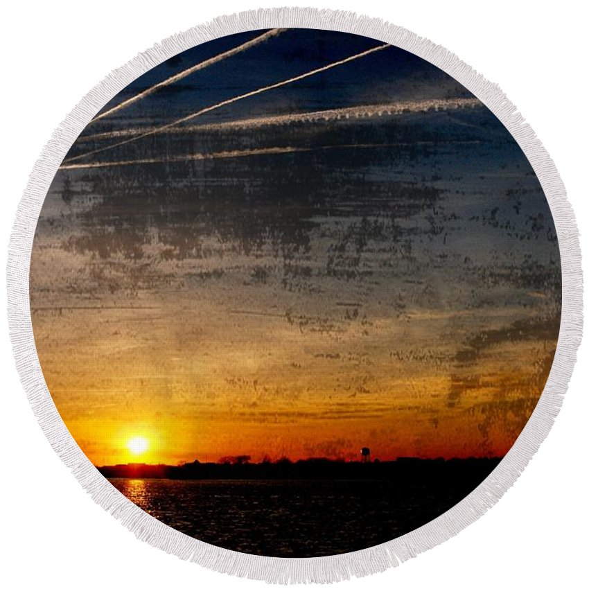Jersey Shore Round Beach Towel featuring the photograph Barnegat Bay Sunset - Jersey Shore by Angie Tirado