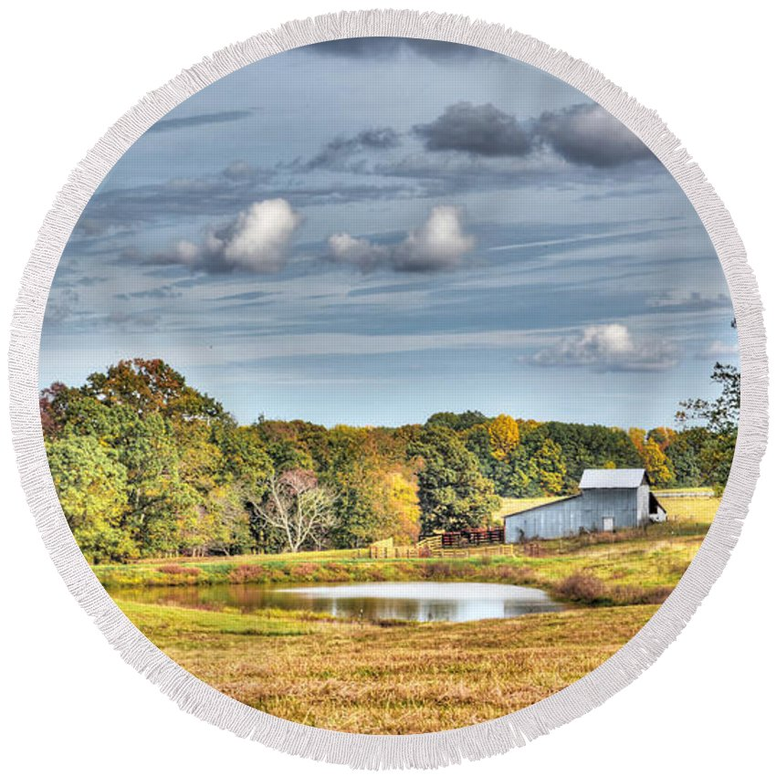 Barns Round Beach Towel featuring the photograph Barns And Pond On A Fall Day by Aaron Shortt