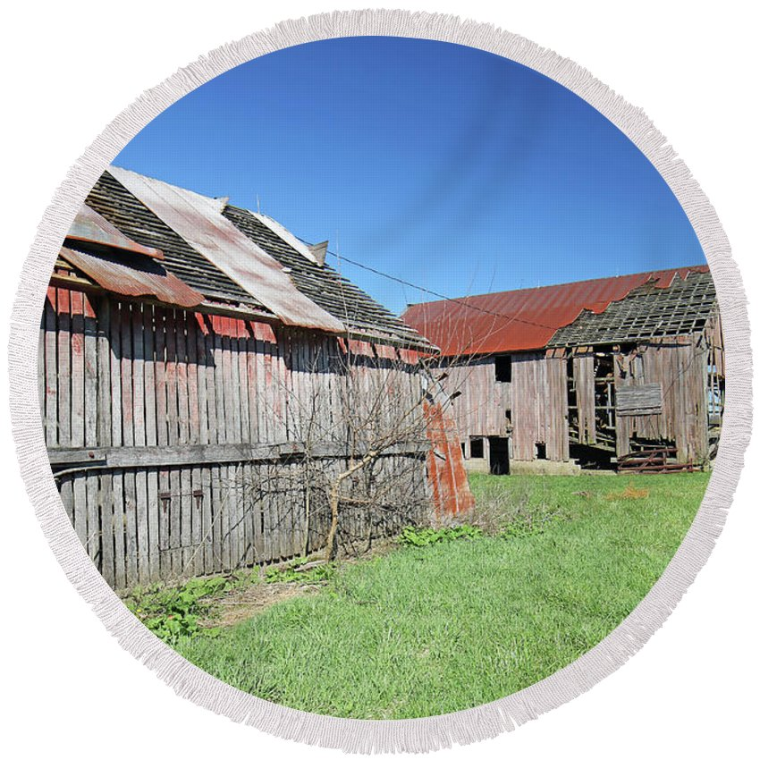 Abandoned Round Beach Towel featuring the photograph Barns Of Old by Steve Gass