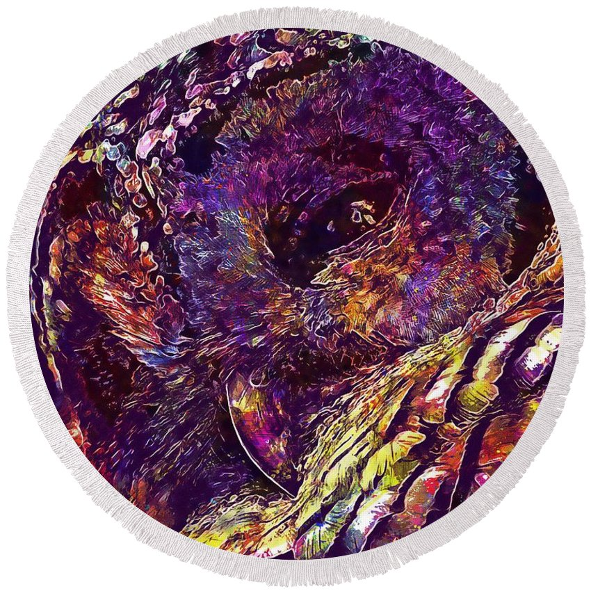 Barred Round Beach Towel featuring the digital art Barred Owl Bird Wildlife Nature by PixBreak Art