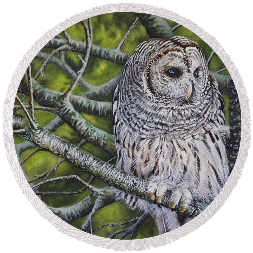Owl Round Beach Towel featuring the painting Barred Owl by Greg and Linda Halom
