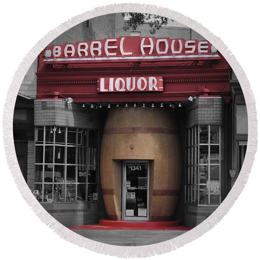 Barrel Round Beach Towel featuring the photograph Barrel House Liquor Store by Jost Houk