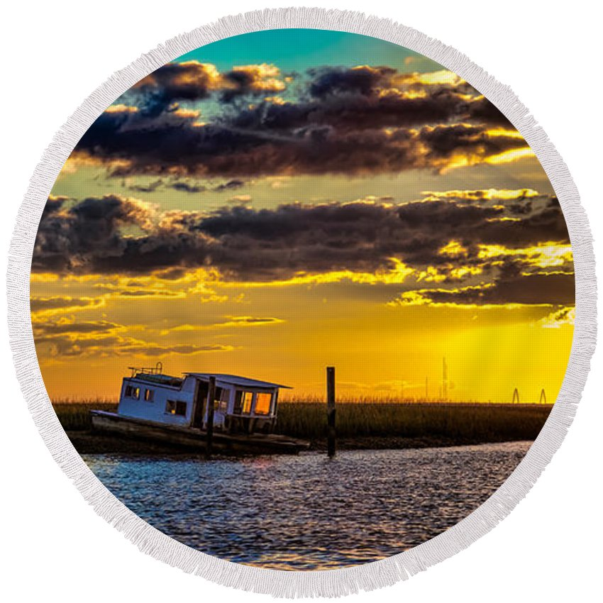 Sunsets Round Beach Towel featuring the photograph Barrier Island Sunset by Christopher Nelson