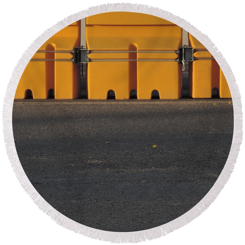 Roadways Round Beach Towel featuring the photograph Barriers Of Yellow by Bill Tomsa
