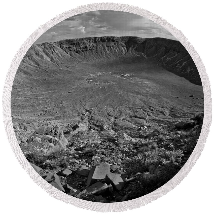 Meteor Round Beach Towel featuring the photograph Barringer Meteor Crater #7 by Robert J Caputo