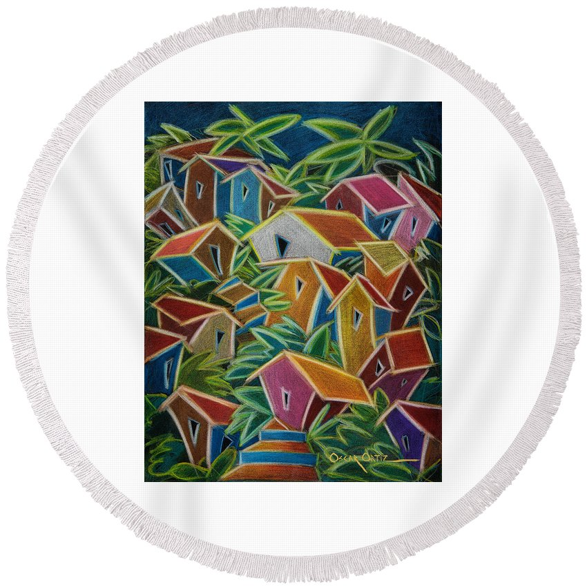 Landscape Round Beach Towel featuring the painting Barrio Lindo by Oscar Ortiz