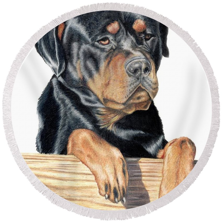 Dog Round Beach Towel featuring the drawing Bart by Kristen Wesch