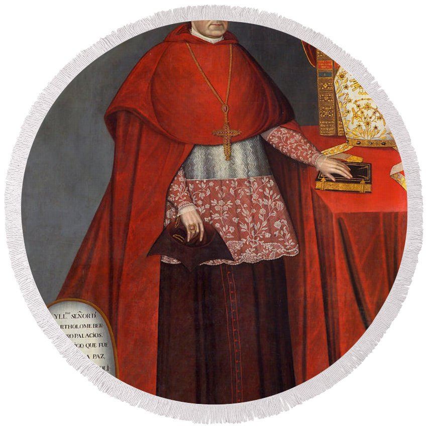 Bishop Round Beach Towel featuring the painting Bartholomew Fabro Y Palacios - Bishop Of Huamanga by Mountain Dreams