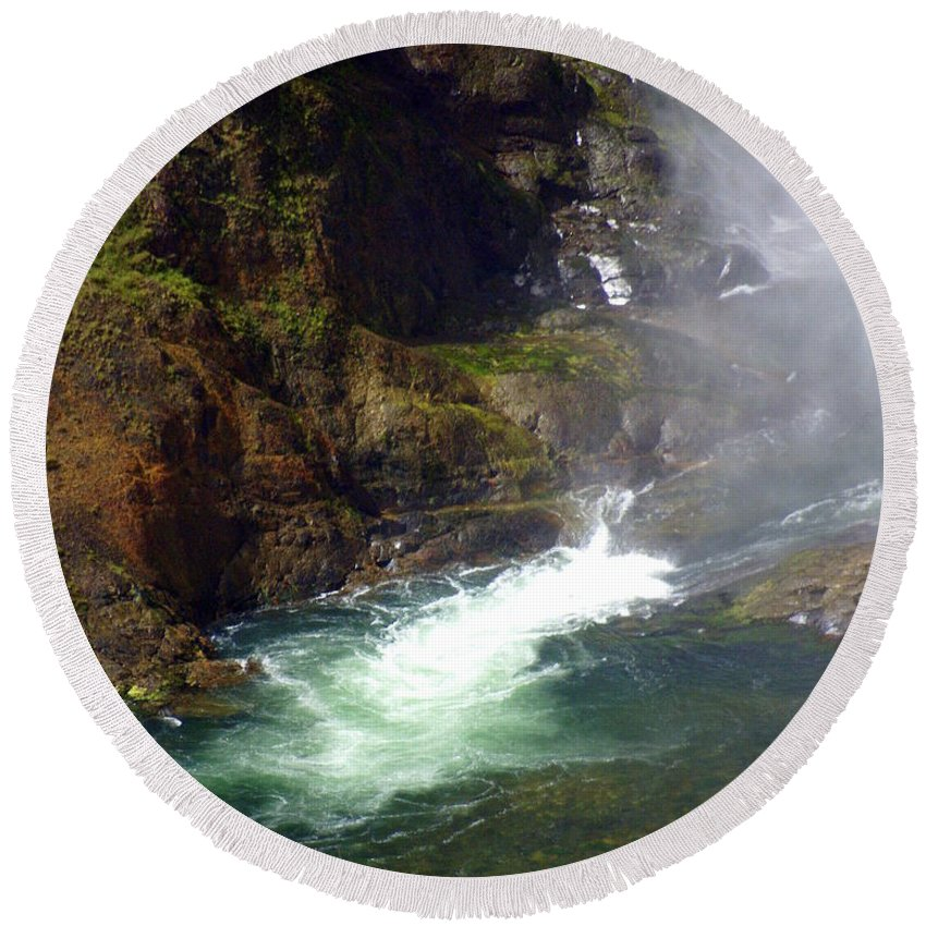Yellowstone National Park Round Beach Towel featuring the photograph Base Of The Falls 1 by Marty Koch