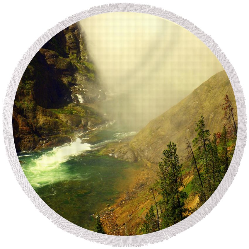 Yellowstone River Round Beach Towel featuring the photograph Base Of The Falls 2 by Marty Koch