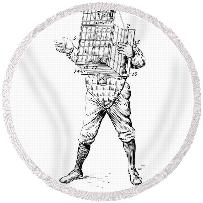 Baseball Round Beach Towel featuring the photograph Baseball Catcher Cage - Restored Patent Drawing For The 1904 James Edward Bennett Catcher Cage by Jose Elias - Sofia Pereira