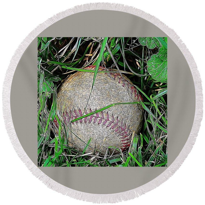 Baseball Round Beach Towel featuring the photograph Baseball by Modern Art