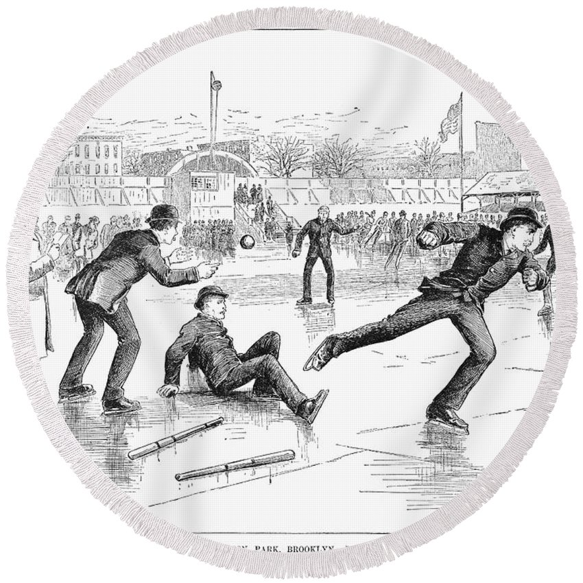 1884 Round Beach Towel featuring the photograph Baseball On Ice, 1884 by Granger