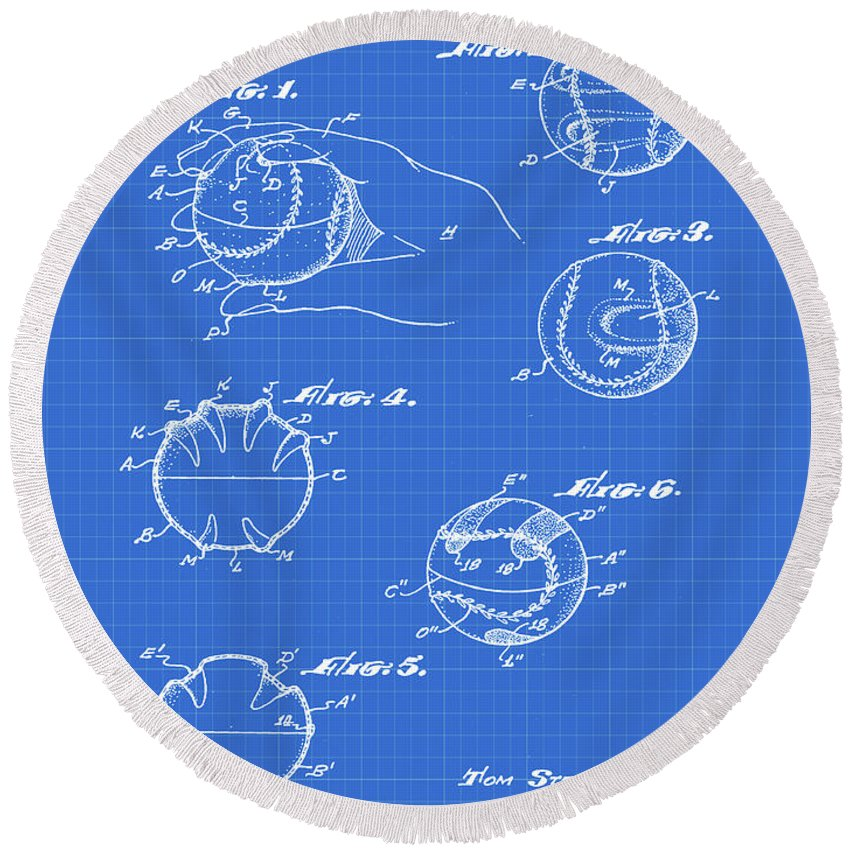 Baseball Round Beach Towel featuring the photograph Baseball Training Device Patent 1961 Blueprint by Bill Cannon