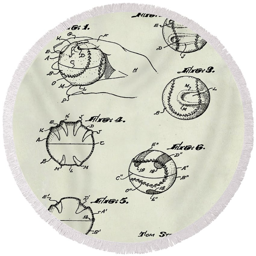 Baseball Round Beach Towel featuring the photograph Baseball Training Device Patent 1961 Weathered by Bill Cannon