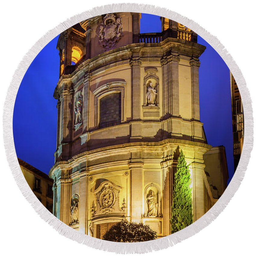 Christianity Round Beach Towel featuring the photograph Basilica De San Miguel by Inge Johnsson