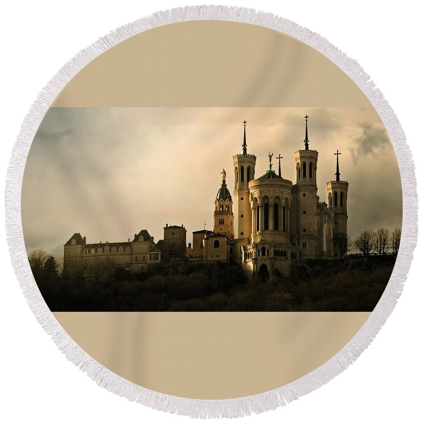 Famous Round Beach Towel featuring the photograph Basilica Of Our Lady Of Fourviere by Katie Wing Vigil