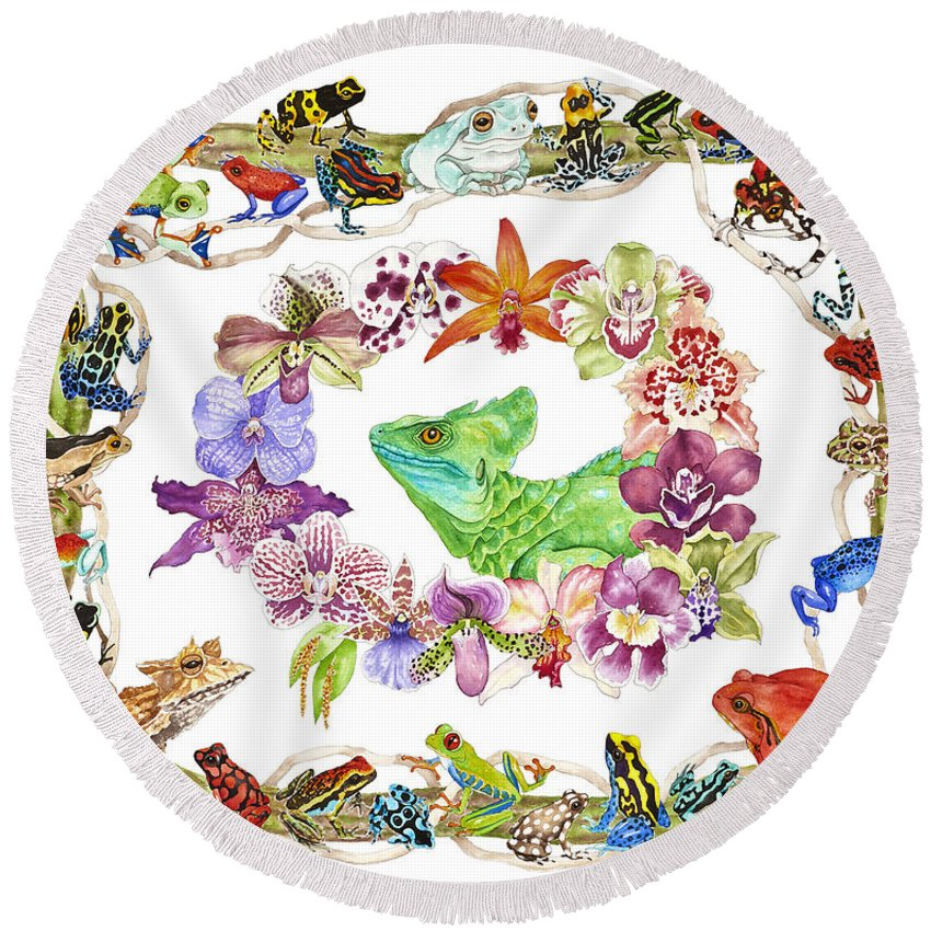 Frogs Round Beach Towel featuring the painting Basilisk, Orchids, Frogs by Lucy Arnold
